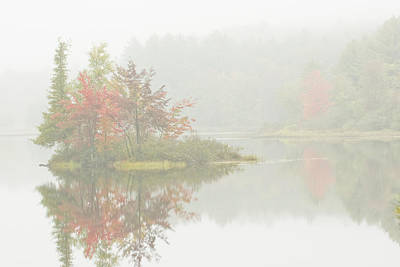 Maine Landscape Photograph - Foggy Weather And Fall Colors On Flying Pond Vienna Maine by Keith Webber Jr