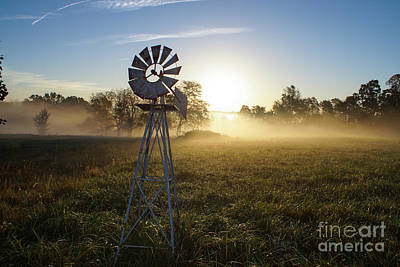 Photograph - Foggy Windmill Sunrise by Jennifer White