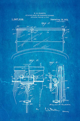Folberth Windshield Wiper Patent Art 1921 Blueprint Art Print
