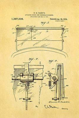 Folberth Windshield Wiper Patent Art 1921 Art Print