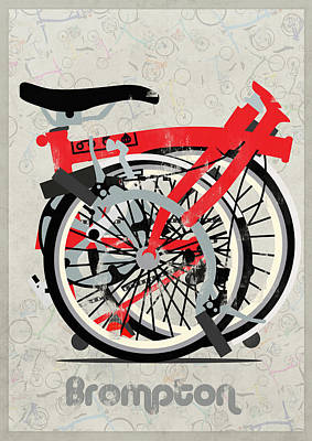 Fixie Digital Art - Folded Brompton Bike by Andy Scullion
