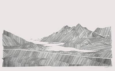 Concept Art Inks Drawing - Folded Landscape by David Henriksen