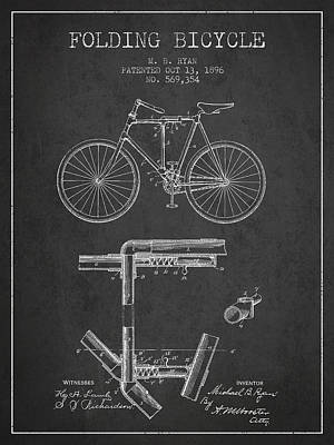 Transportation Digital Art - Folding Bicycle Patent Drawing from 1896 - Dark by Aged Pixel