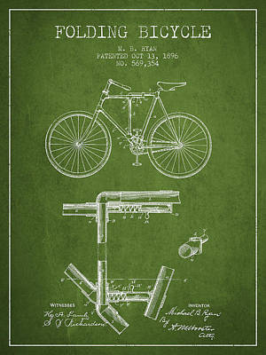 Transportation Digital Art - Folding Bicycle Patent Drawing from 1896 - Green by Aged Pixel