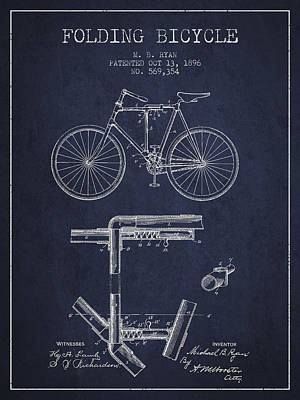 Transportation Digital Art - Folding Bicycle Patent Drawing from 1896 - Navy Blue by Aged Pixel