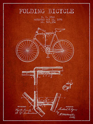 Transportation Digital Art - Folding Bicycle Patent Drawing from 1896 - Red by Aged Pixel