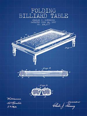 Billiard Sticks Digital Art - Folding Billiard Table Patent From 1887 - Blueprint by Aged Pixel