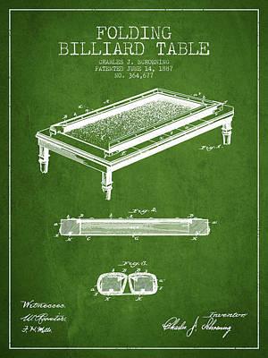 Billiard Sticks Digital Art - Folding Billiard Table Patent From 1887 - Green by Aged Pixel