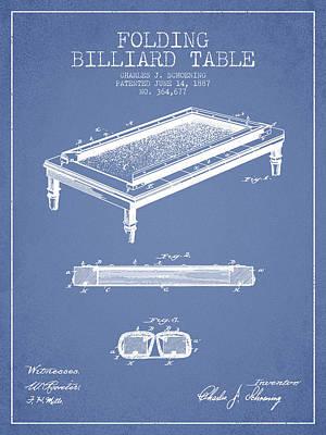 Billiard Sticks Digital Art - Folding Billiard Table Patent From 1887 - Light Blue by Aged Pixel