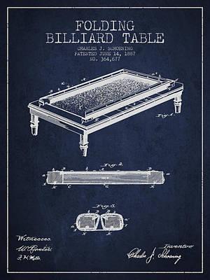 Billiard Sticks Digital Art - Folding Billiard Table Patent From 1887 - Navy Blue by Aged Pixel