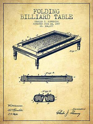 Billiard Sticks Digital Art - Folding Billiard Table Patent From 1887 - Vintage by Aged Pixel