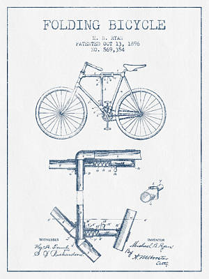 Transportation Digital Art - Folding Bicycle Patent Drawing from 1896 - Blue Ink by Aged Pixel