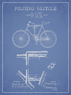 Transportation Digital Art - Folding Bicycle Patent Drawing from 1896 - Light Blue by Aged Pixel