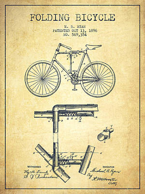 Transportation Digital Art - Folding Bicycle Patent Drawing from 1896 - Vintage by Aged Pixel