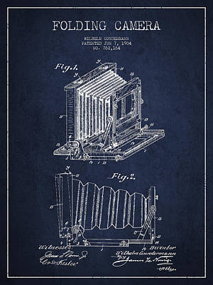 Video Digital Art - Folding Camera Patent Drawing From 1904 by Aged Pixel