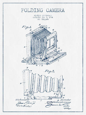 Folding Camera Patent Drawing From 1904 - Blue Ink Art Print by Aged Pixel