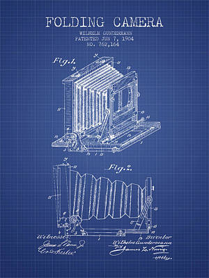 Folding Camera Patent From 1904 - Blueprint Art Print by Aged Pixel