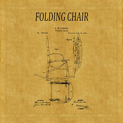 Folding Chair Photograph - Folding Chair Patent 1 by Andrew Fare