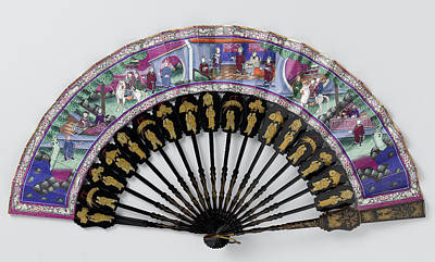 Folding Fan With Double Sheet Of Fabric On The Front Three Art Print