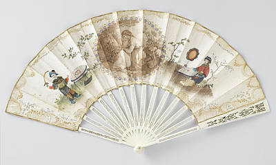 Lovers Artwork Drawing - Folding Fan With Double Sheet Of Paper On Which A Round by Litz Collection