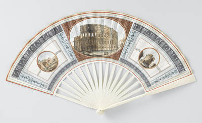 Folding Fan With Sheet Of Goatskin, Which With Gouache Print by Litz Collection