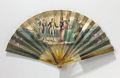 Copper Drawing - Folding Fan With Sheet Of Paper On Which A Copper Engraving by Litz Collection