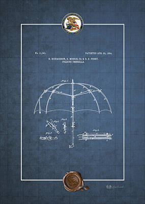 Digital Art - Folding Umbrella - Patent # 11561 - Vintage Patent Blueprint by Serge Averbukh