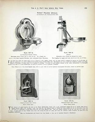 Old Plumbing Photograph - Folding Urinal Patent by New York Public Library