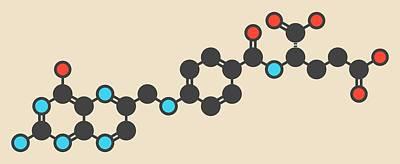 Folic Acid Molecule Art Print by Molekuul
