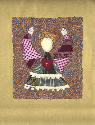 Tapestry - Textile - Folk Angel by Carol Neal