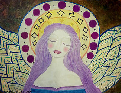Folk Art Mixed Media - Folk Angel Primitive Blessings  by Sacred  Muse