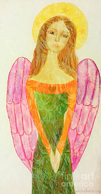 Folk Angel Protection Art Print by Sacred  Muse