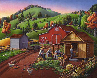 Vermont Landscape Painting - Folk Art Americana - Farmers Shucking Harvesting Corn Farm Landscape - Autumn Rural Country Harvest  by Walt Curlee