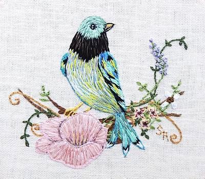 Tapestry - Textile - Folk Art Bird Embroidery Illustration by Stephanie Callsen