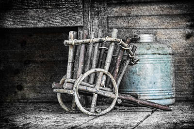 Selective Color Photograph - Folk Art Cart Still Life by Tom Mc Nemar