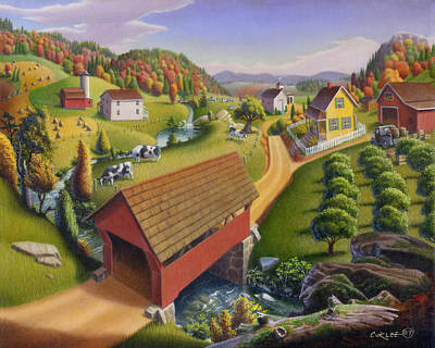 Vermont Landscape Painting - Folk Art Covered Bridge Appalachian Country Farm Summer Landscape - Appalachia - Rural Americana by Walt Curlee