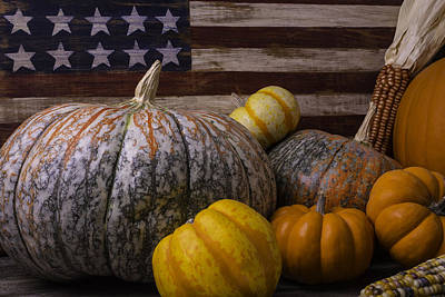 Folk Art Flag And Pumpkins Print by Garry Gay