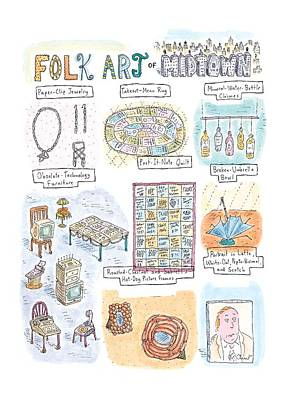 Jewelry Drawing - 'folk Art Of Midtown' by Roz Chast