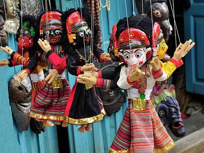 Paper Mache Photograph - Folk Art Of Nepal, Paper Mache Masks by Jaina Mishra