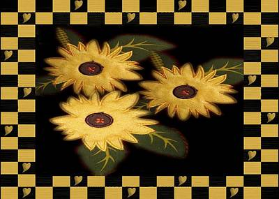 Digital Art - Folk Art Sunflowers by Patricia Urato