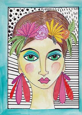 Folk Girl Pattern Art Print