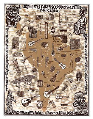 Folk Instruments Of Latin America Art Print by Ricardo Levins Morales