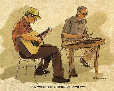 Painting - Folk Musicians by RG McMahon