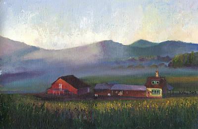 Folk School Barn At Dawn Art Print by William Killen