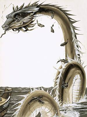 Folk Drawing - Folk Stories Of America Sea Serpent by Richard Hook
