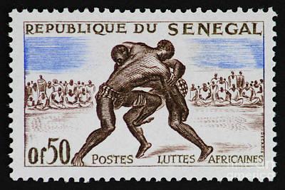 Folk Wrestling Vintage Postage Stamp Print Art Print by Andy Prendy