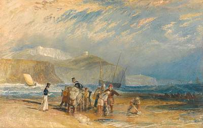 Folkestone Harbour Wall Art - Painting - Folkestone Harbour And Coast To Dover by JMW Turner