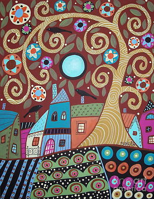 Swirl Tree Painting - Folksy Village by Karla Gerard