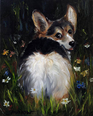 Corgi Painting - Follow Me by Mary Sparrow