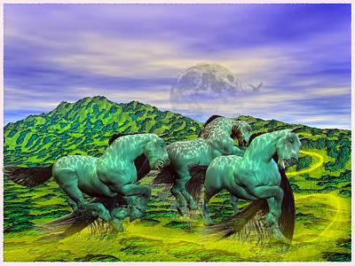 Surrealism Mixed Media Rights Managed Images - Follow the Yellow Brick Road Royalty-Free Image by Betsy Knapp